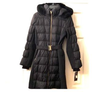 Down Puffer Coat with Fur-lined hood